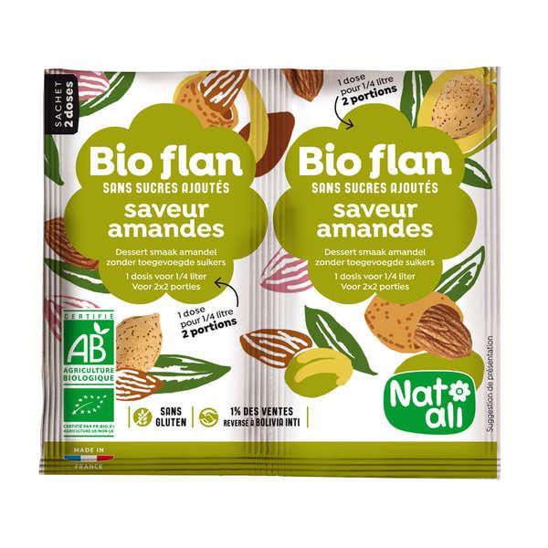 Nat-Ali Bio Flan parfum amandes sans sucres ajoutés - Lot de 5 x 2 doses de 4g