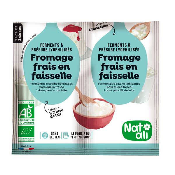 Nat-Ali Préparation pour fromage frais en faisselle bio - Les 2 doses de 6g