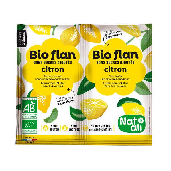 Nat-Ali Bio Flan parfum citron sans sucres ajoutés - Lot de 5 x 2 doses de 4g
