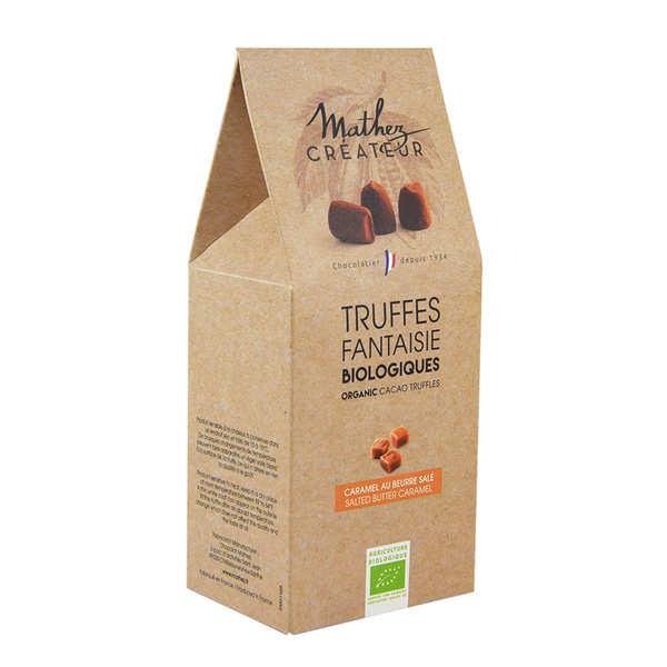 Chocolat Mathez Truffe fantaisie bio au chocolat noir et aux éclats de caramel au beurre salé - Boîte 200g