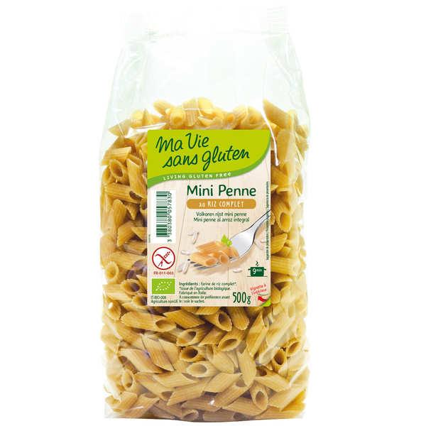 Ma vie sans gluten Mini penne au riz complet - pâtes bio certifiées sans gluten - 3 sachets de 500g