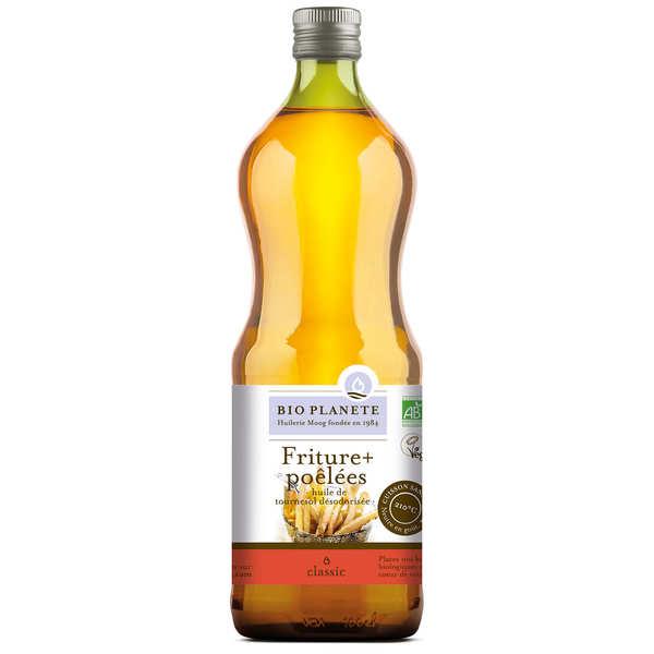 BioPlanète Huile de tournesol désodorisée bio pour friture et poêlées - 3 bouteilles de 1L