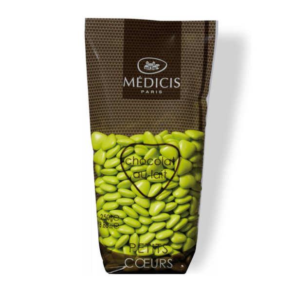 Dragées Médicis Les dragées petits coeurs vert anis au chocolat au lait - Sachet 250g