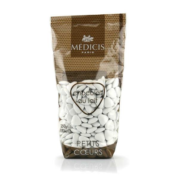 Dragées Médicis Les dragées petits coeurs blanches au chocolat au lait - Sachet 250g