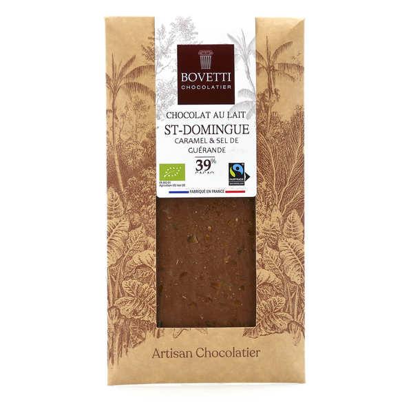 Bovetti chocolats Tablette chocolat au lait Bio caramel fleur de sel - Tablette 100g