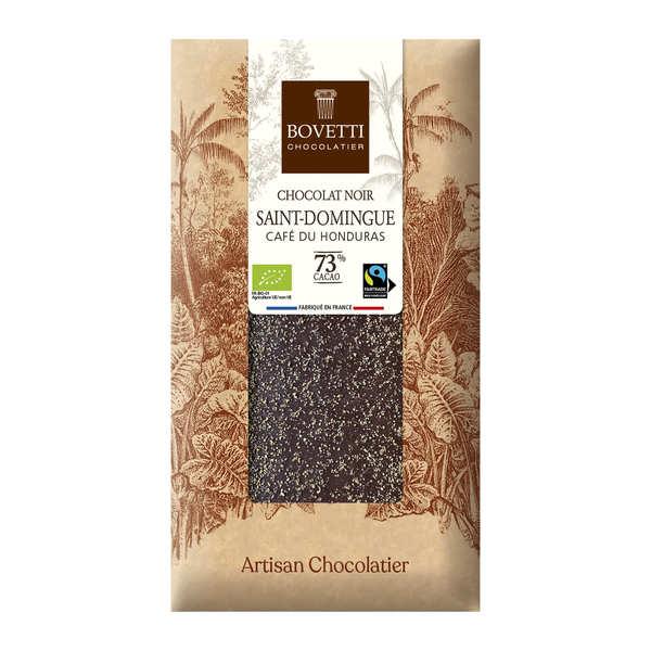 Bovetti chocolats Tablette chocolat noir bio équitable 73% au café du Honduras - Tablette 100g