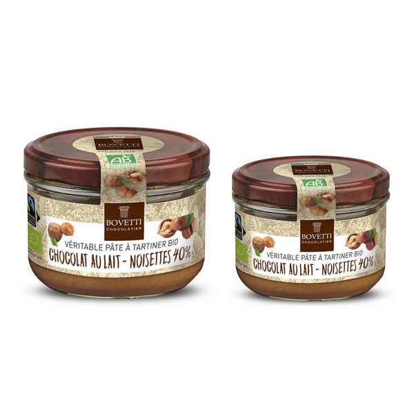Bovetti chocolats Véritable pâte à tartiner bio noisette chocolat au lait sans huile de palme - Pot 200g