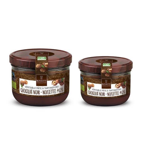 Bovetti chocolats Véritable pâte à tartiner bio noisette chocolat noir sans huile de palme - Pot 350g