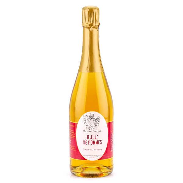 Maison Pouget Jus de pommes pétillant sans alcool - Bull' de pommes - Lot 3 bouteilles de 75cl