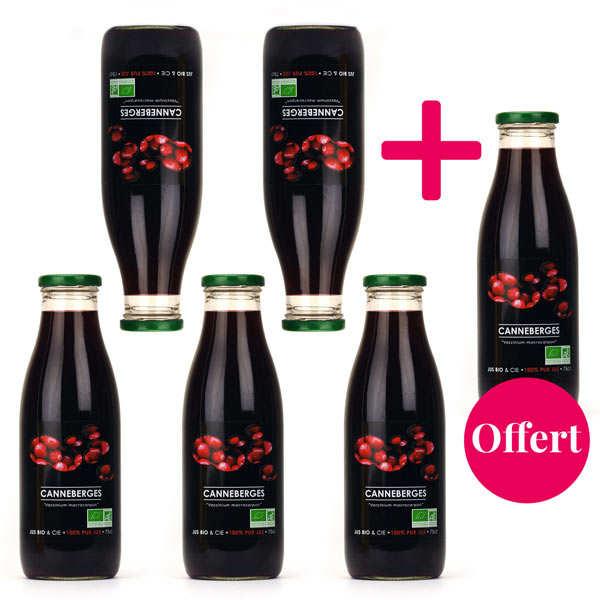 Jus Bio & Cie Pur jus de cranberry bio 5+1 offert - canneberge - Lot 5 * 75cl  + 75 cl offert