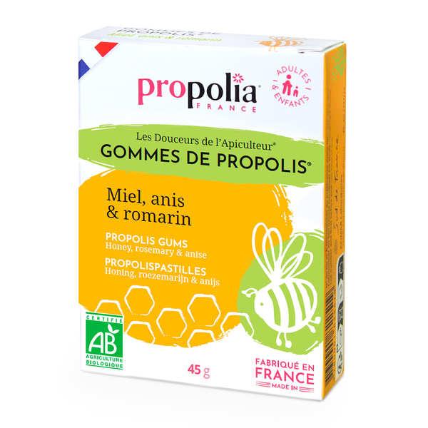 Propolia Gommes de Propolis Bio - Miel et romarin bio, anis - Lot de 12 boites 45g