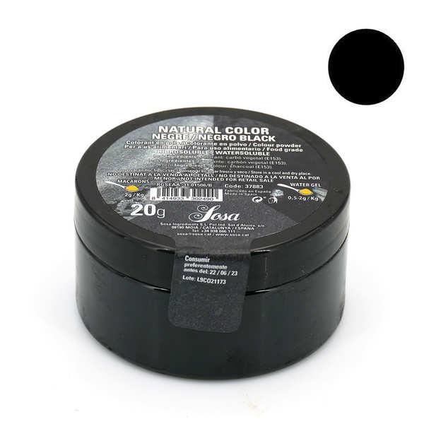 Sosa ingredients Colorant en poudre noir brillant  - poudre de charbon - Pot 20g