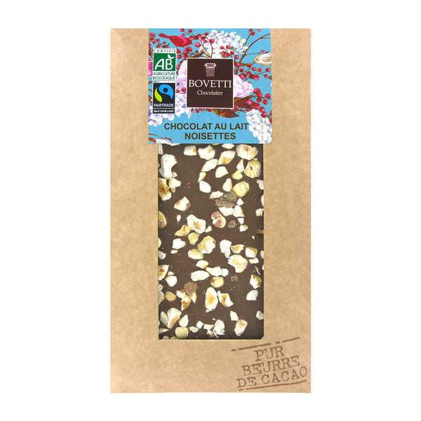 Bovetti chocolats Tablette chocolat au lait et noisette - Bio - 3 tablettes de 100g