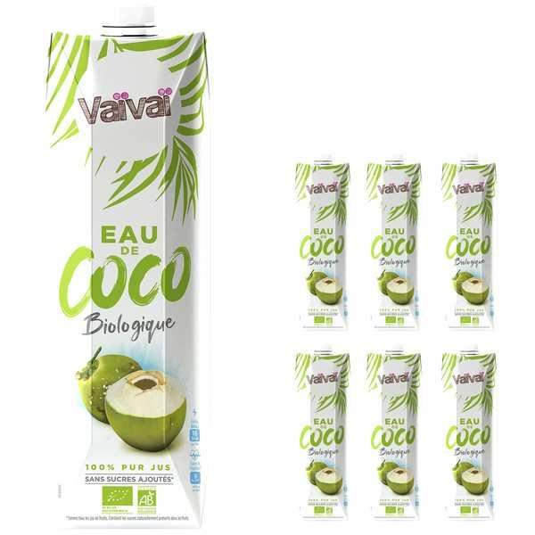 VaiVai Vaïvaï – L'eau de coco 100% naturelle - 1 litre - Le lot de 6 - Lot 6 bouteilles d'1 litre