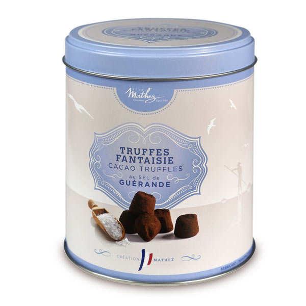 Chocolat Mathez Truffes fantaisie au sel de Guérande - boîte métal - 3 boîtes métal de 250g