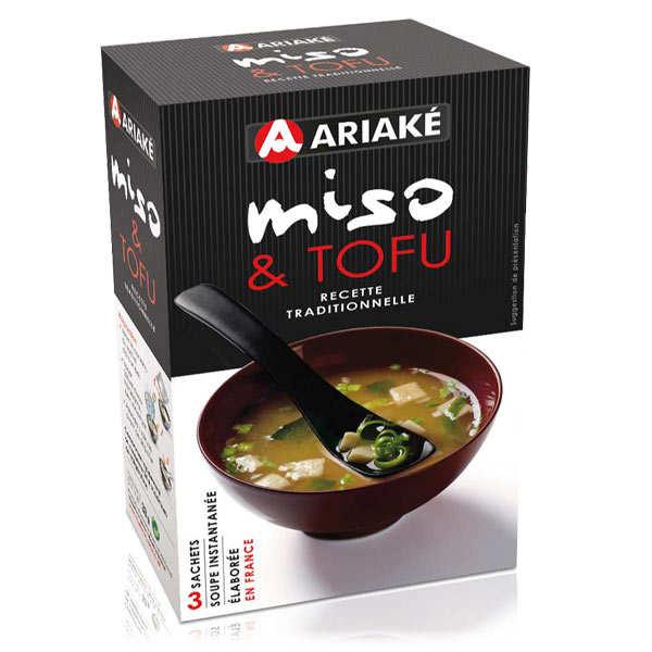 Ariaké Japan Soupe miso et tofu instantanée en sachets - 3 boites de 3 sachets de 11g