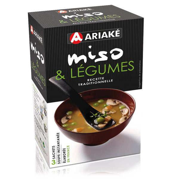 Ariaké Japan Soupe miso et légumes instantanée en sachets - 2 boites de 3 sachets de 12g