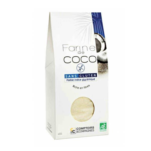 Comptoirs et Compagnies Farine de coco bio sans gluten - Lot 3 sachets de 400g