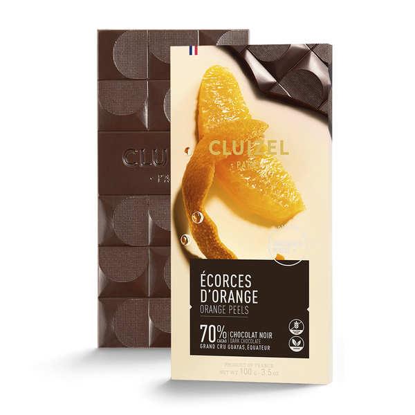 Michel Cluizel Tablette de chocolat noir aux écorces d'orange - 70% - Tablette 100g
