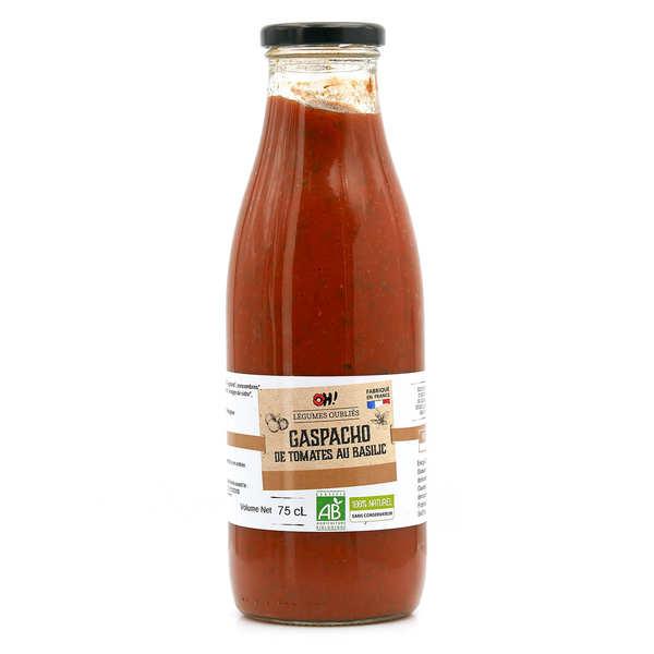 Oh ! Légumes oubliés Gaspacho de tomates au basilic frais bio - Bouteille verre 75cl