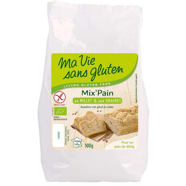 Ma vie sans gluten Préparation pour pain bio au millet et aux graines - Sans gluten - 3 sachets de 500g