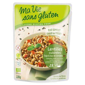Ma vie sans gluten Céréales cuisinées lentilles, soja, duo riz sarrasin bio et sans gluten - Paquet 220g - Publicité