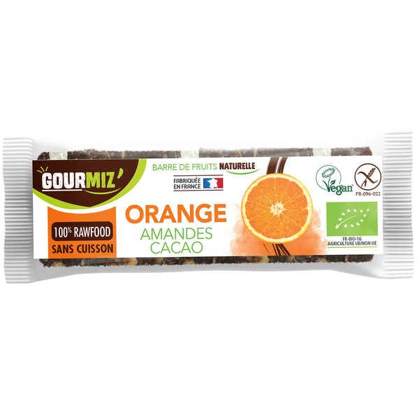 Gourmiz Barre crue et bio Orange - Amandes - 3 barres de 35g
