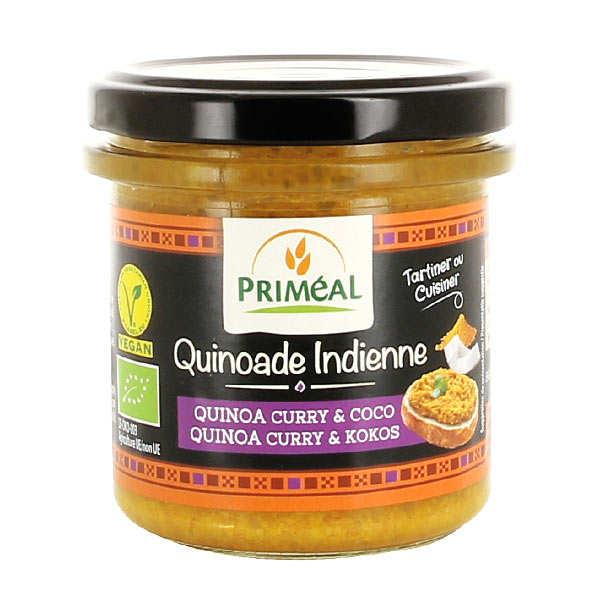 Priméal Quinoade indienne - quinoa, curry et coco à tartiner bio - Pot 140g