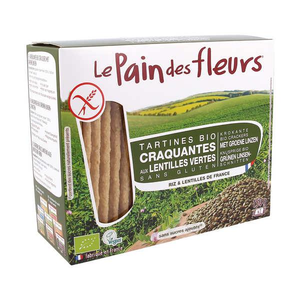 Le Pain des Fleurs aux lentilles vertes bio - sans gluten - 3 paquets de 150g