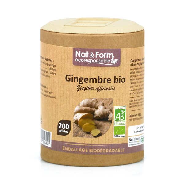 Nat&Form Gingembre bio - 200 gélules de 325mg - Boîte carton recyclé 200 gélules