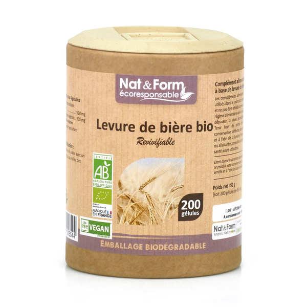 Nat&Form Levure de bière revivifiable bio - 200 gélules de 455mg - Boîte carton recyclé 200 gélules