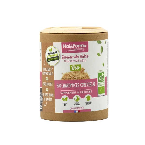 Nat&Form Levure de bière bio - 200 gélules (500mg par gélule) - Boîte carton recyclé 200 comprimés