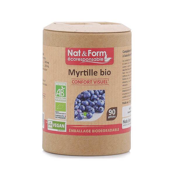 Nat&Form Myrtille bio - 90 gélules de 325mg - Boîte carton recyclé 90 gélules