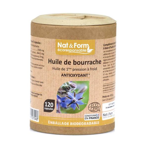 Nat&Form Huile de bourrache - 120 capsules de 726,4mg - Boîte carton recyclé 120 capsules