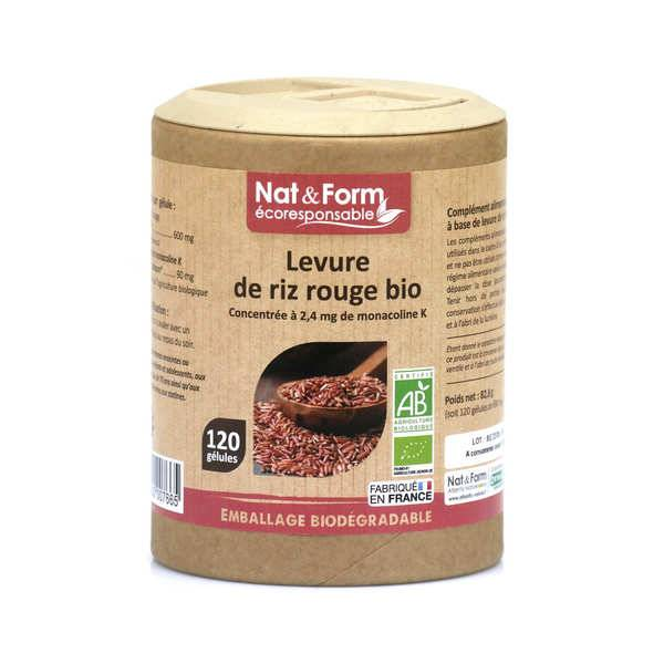 Nat&Form Levure de riz rouge bio - 120 gélules de 690mg - Boîte carton recyclé 120 gélules