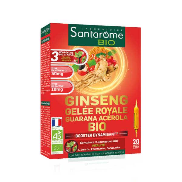 Santarome Bio Ginseng gelée royale guarana acérola bio - 20 ampoules de 10ml - Boîte de 20 ampoules de 10ml