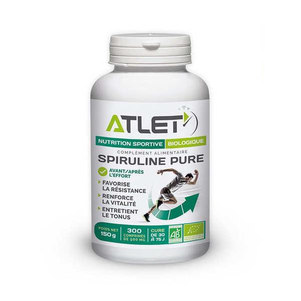 Atlet Spiruline pure biologique en comprimés de 500mg - 3 flacons de 300 comprimés