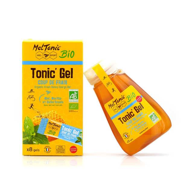 Meltonic Gel énergétique bio Coup de frais - Miel, gelée royale et menthe - Flacon recharge éco 12 gels
