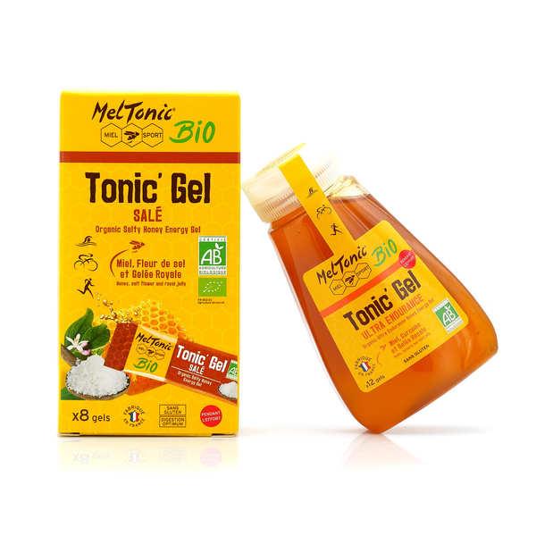 Meltonic Gel énergétique Bio salé - Miel, Fleur de sel & Gelée royale - Flacon recharge éco 12 gels