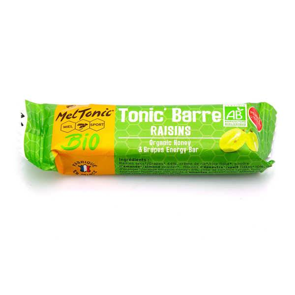 Meltonic Barre énergétique Bio - Miel & Raisins - Une barre énergétique 25g
