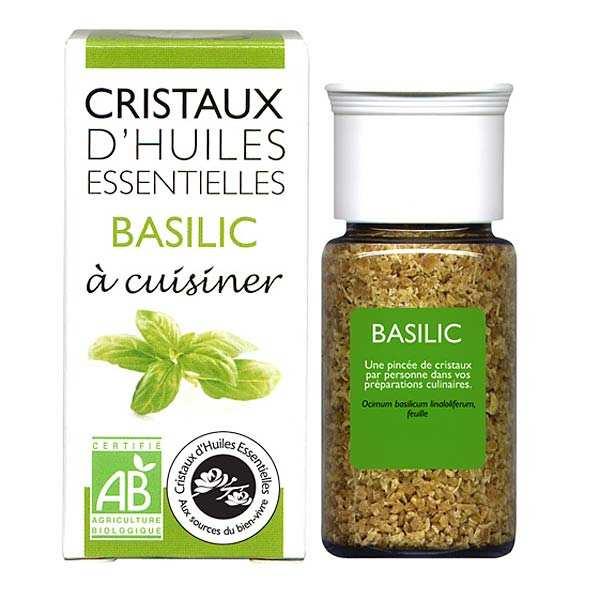Aromandise Basilic - Cristaux d'huiles essentielles à cuisiner - Bio - 6 flacons de 10g