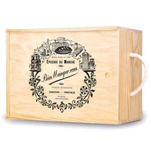 Les Ateliers de la Colagne Caisse bois à glissière décorée Epicerie - Grand format (33x24x18cm) - Publicité