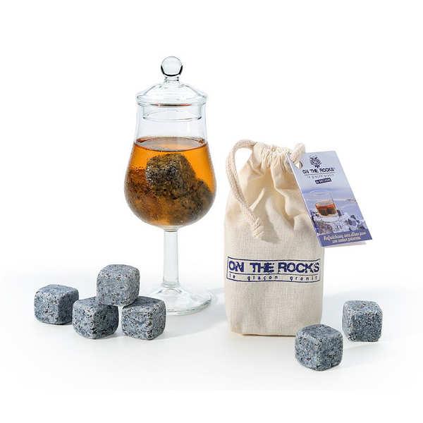 On The Rocks Verre dégustation spécial whisky et 8 glaçons granit de Bretagne - Coffret 8 glaçons + 1 verre 13cl