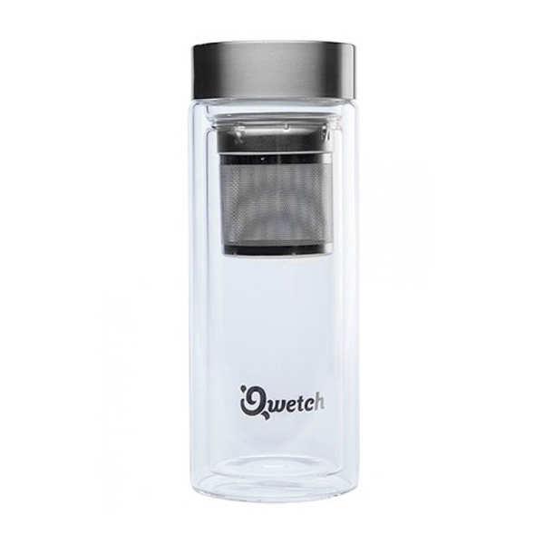 Qwetch Théière de voyage double paroi avec filtre intégré et housse - Théière verre double paroi