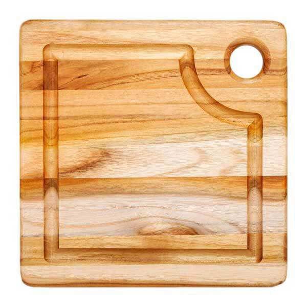 Teak Haus Planche à découper carrée en teck avec rigole - Teak Haus - Planche carrée