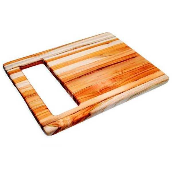 Teak Haus Planche à découper rectangle en teck à large poignée - Teak Haus - Planche 40 x 30 cm