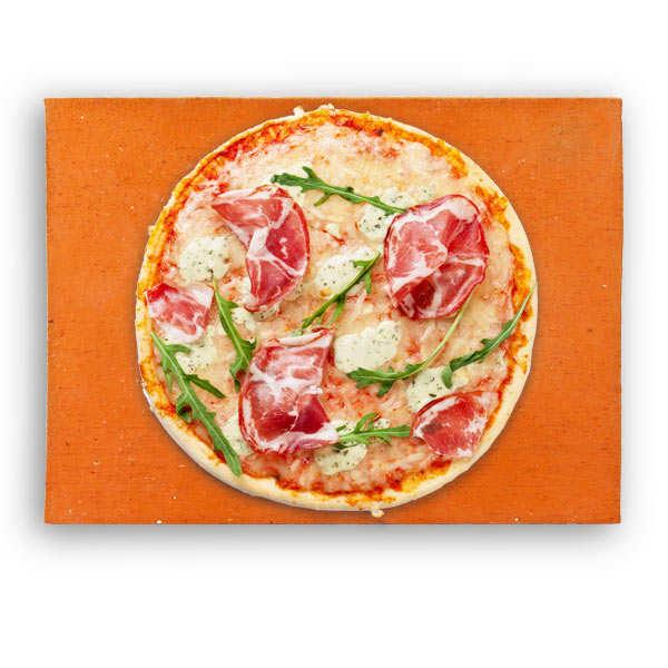 Terres Cuites de Raujolles Pierre à pizza rectangulaire en terre cuite spéciale four ménager (40x30x2.5) - Taille 40x30x2.5cm