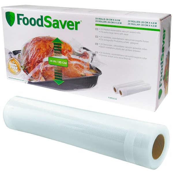 FoodSaver 2 rouleaux extensibles 28cm x 4.8m FoodSaver® pour mise sous vide FVR003X - 2 rouleaux de 4.8mx28cm
