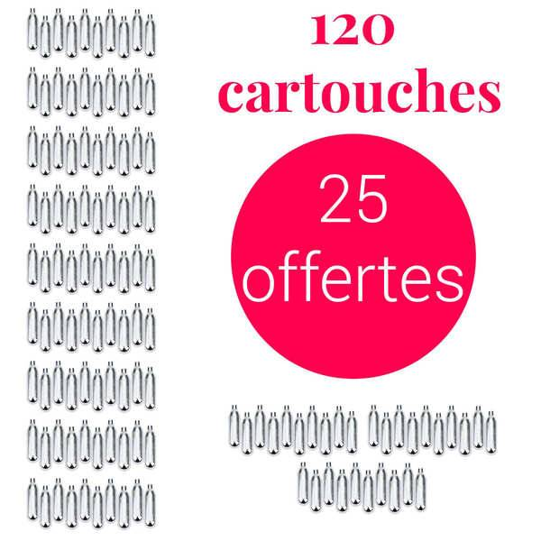 Mosa 95 cartouches siphon + 25 offertes C02 - Pour soda et eau de seltz - Lot 120 cartouches