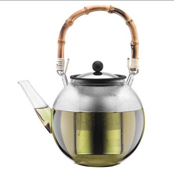 Bodum Théière à piston avec anse en bambou naturel 1.5L - Assam - Théière filtre inox